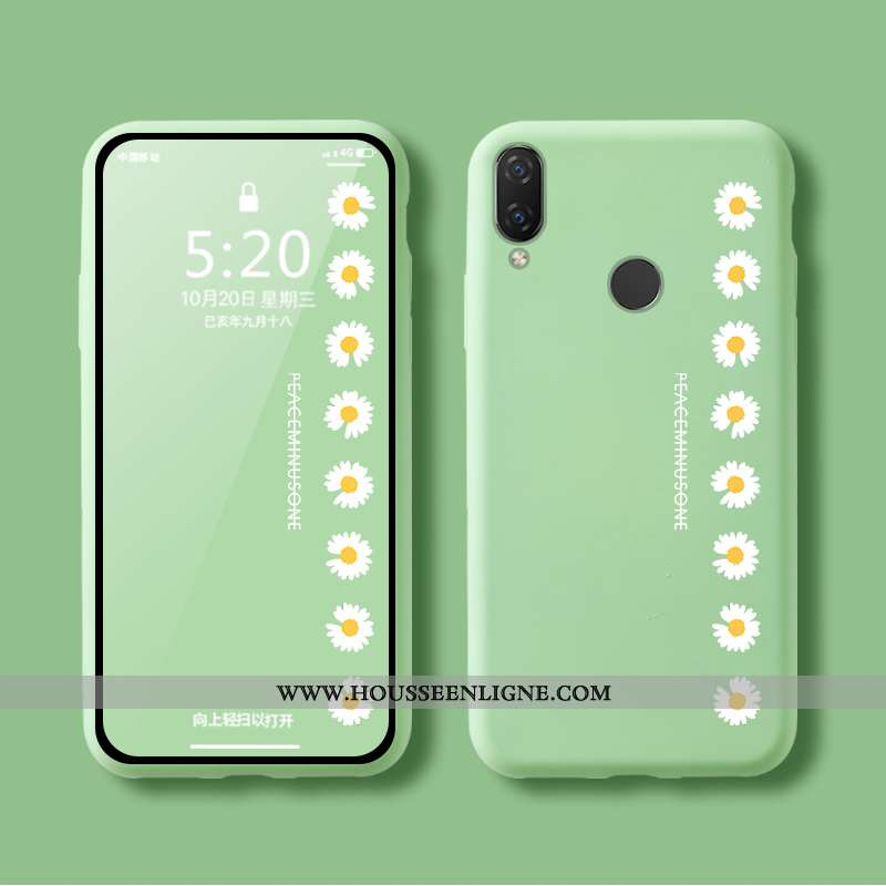 Housse Huawei P Smart+ Protection Fluide Doux Silicone Désign Coque Vert Amoureux Verte