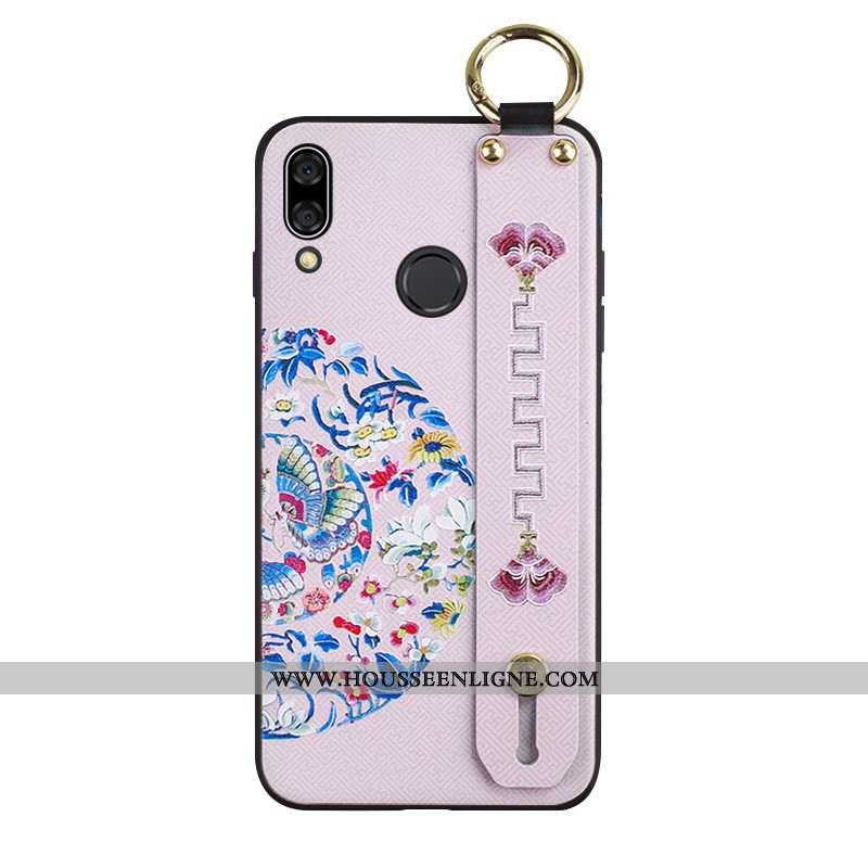 Housse Huawei P Smart+ Protection Ornements Suspendus Coque Rose Gaufrage Style Chinois Silicone