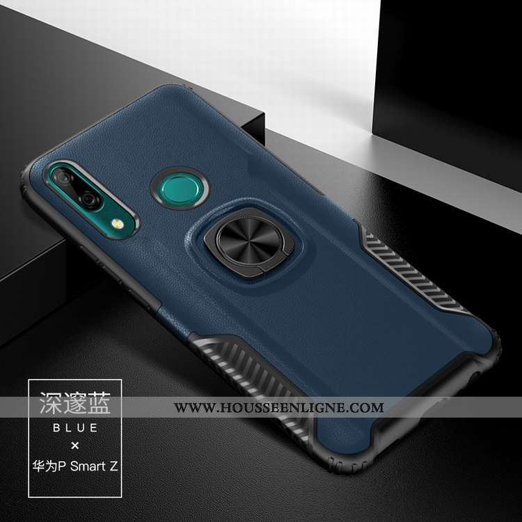 Housse Huawei P Smart Z Silicone Téléphone Portable Support Incassable Anneau Bleu Marin Difficile B