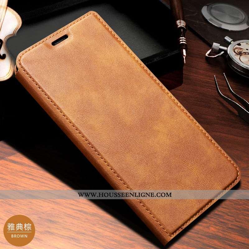 Housse Huawei P20 Cuir Véritable Coque Étui Plier Business Magnétisme Téléphone Portable Marron