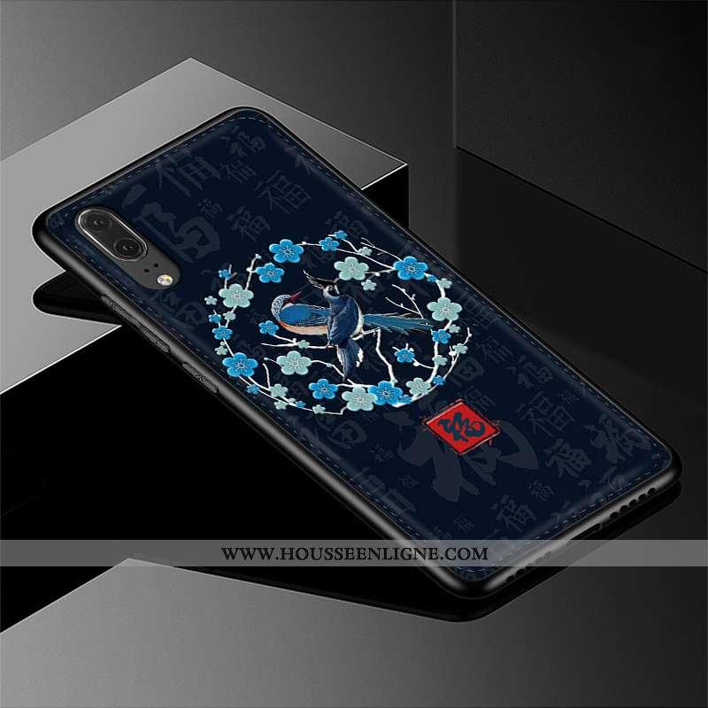 Housse Huawei P20 Cuir Véritable Tendance Modèle Fleurie Cuir Coque Téléphone Portable Bleu Marin Bl