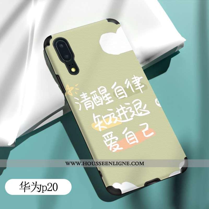 Housse Huawei P20 Fluide Doux Silicone Coque Tout Compris Charmant Étui Légère Verte