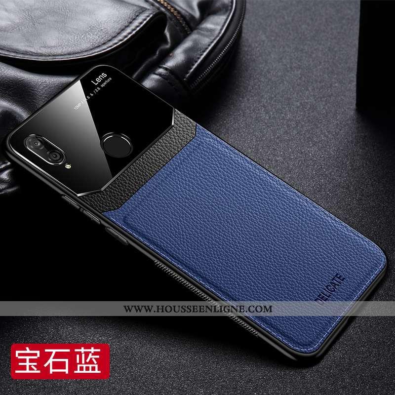 Housse Huawei P20 Lite Cuir Fluide Doux Bleu Coque Ultra Mesh Difficile