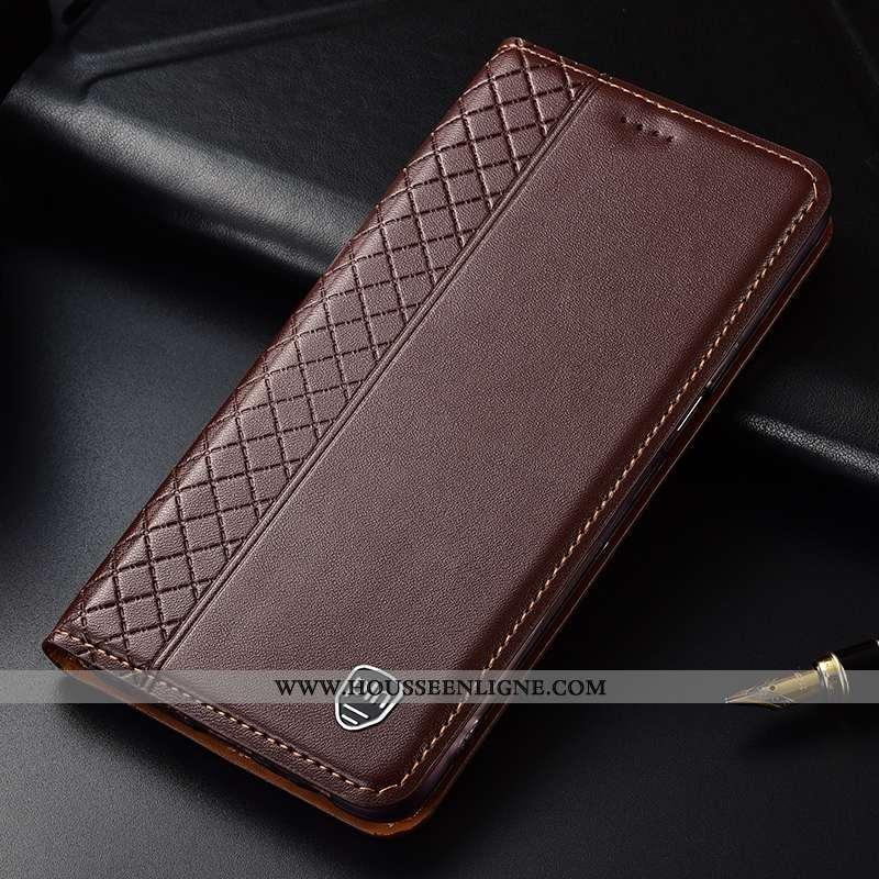 Housse Huawei P20 Lite Cuir Protection Plaid Incassable Marron Tout Compris Véritable