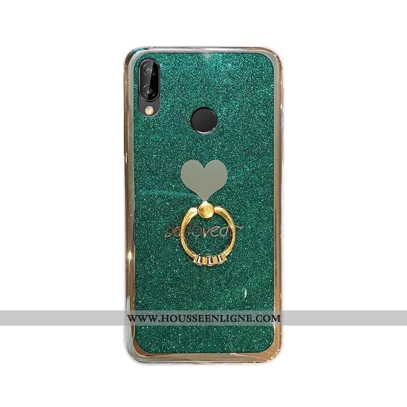 Housse Huawei P20 Lite Fluide Doux Tendance Jeunesse Étui Net Rouge Incassable Coque Verte
