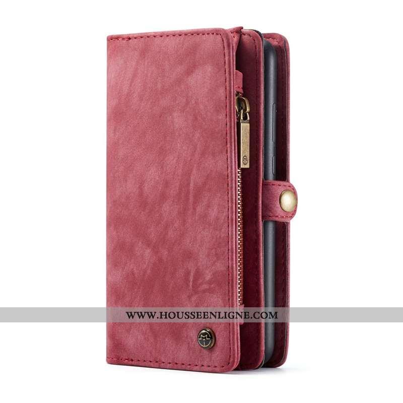 Housse Huawei P20 Lite Protection Portefeuille Cuir Téléphone Portable Sac Carte Vin Rouge Coque Bor