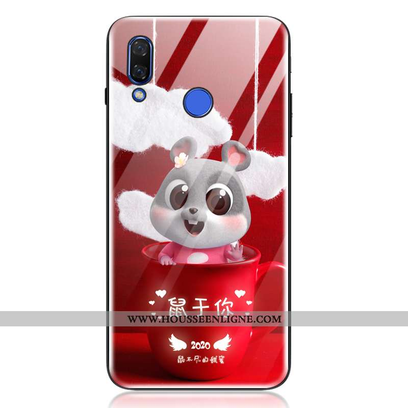 Housse Huawei P20 Lite Tendance Fluide Doux Amoureux Rat Charmant Incassable Coque Rouge