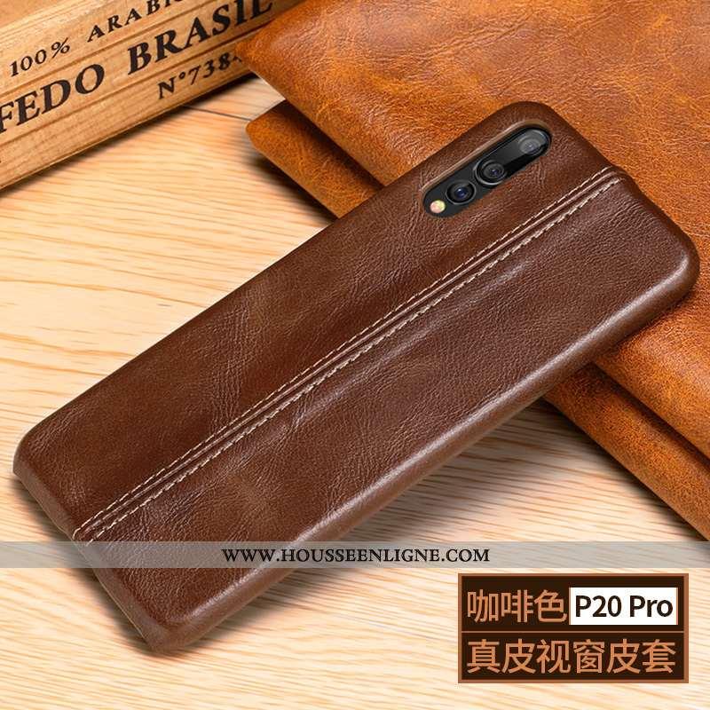 Housse Huawei P20 Pro Délavé En Daim Manuel Téléphone Portable Cuir Haut Protection Étui Cuir Marron