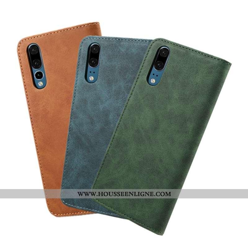 Housse Huawei P20 Protection Cuir Étui Vert Tout Compris Coque Téléphone Portable Armée Verte