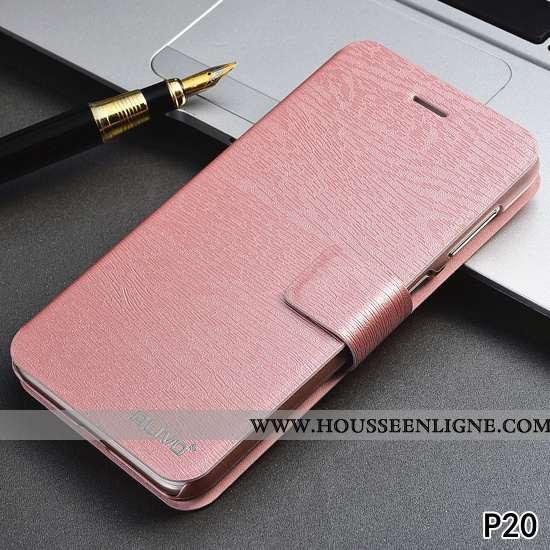 Housse Huawei P20 Tendance Cuir Rose Incassable Difficile Protection Étui