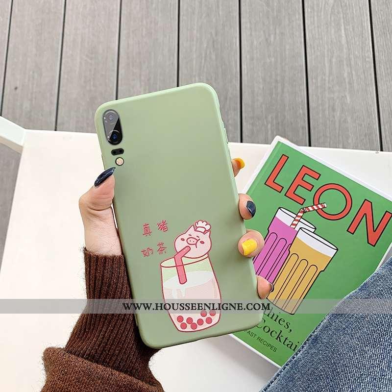 Housse Huawei P20 Tendance Fluide Doux Téléphone Portable Vert Tout Compris Incassable Étui Verte