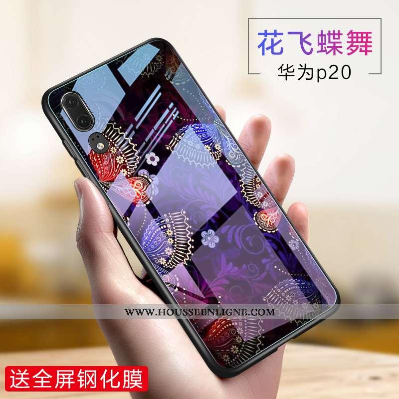 Housse Huawei P20 Verre Créatif Téléphone Portable Silicone Violet Incassable Fluide Doux