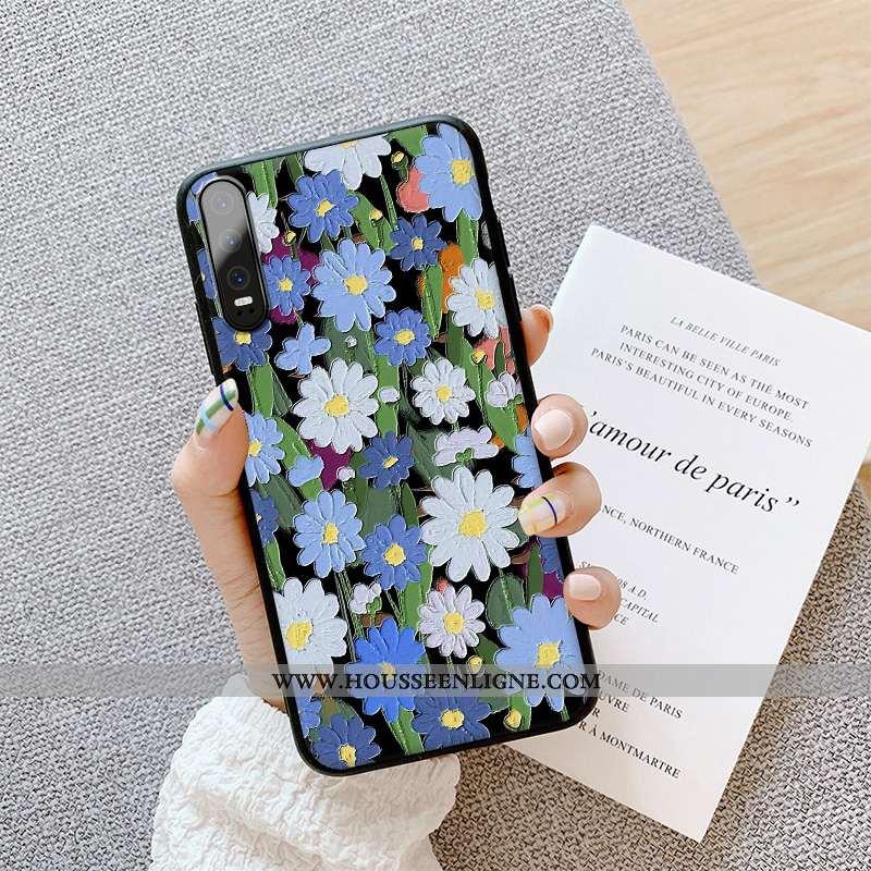 Housse Huawei P30 Délavé En Daim Gaufrage Tout Compris Luxe Fluide Doux Dimensionnel Peinture À L'hu