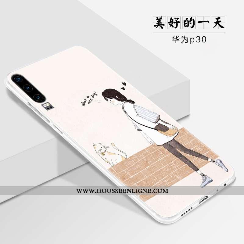 Housse Huawei P30 Fluide Doux Silicone Blanc Légère Tout Compris Étui Tendance Blanche