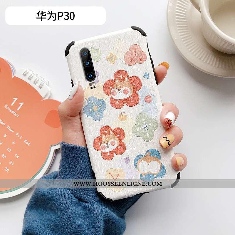 Housse Huawei P30 Fluide Doux Silicone Modèle Fleurie Chat Petit Incassable Cuir Beige