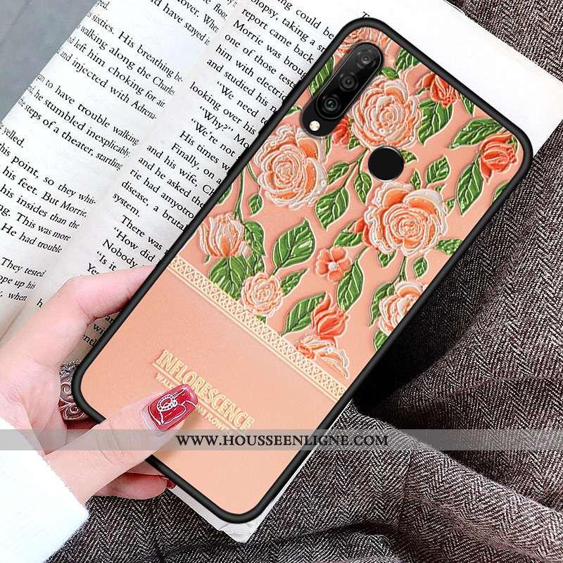 Housse Huawei P30 Lite Créatif Gaufrage Cœur Coque Incassable Tout Compris Silicone Rose