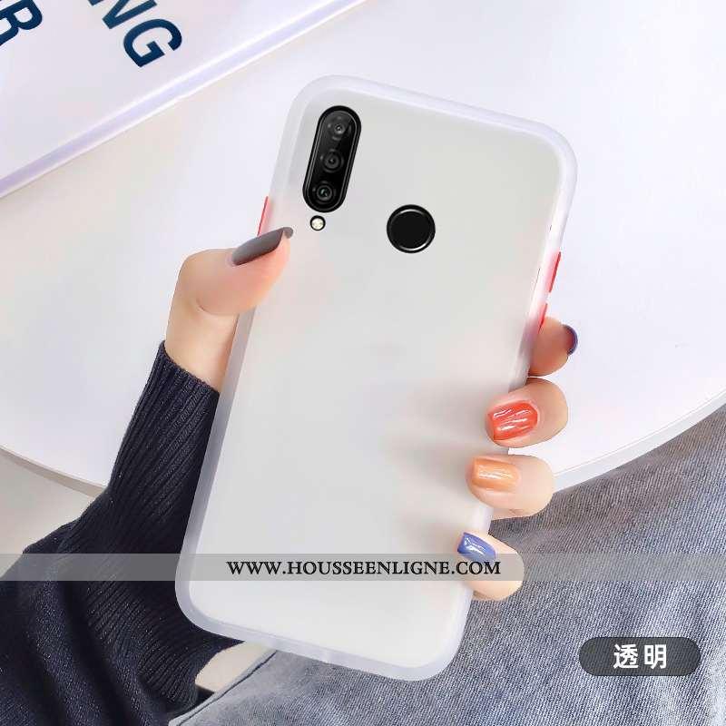 Housse Huawei P30 Lite Délavé En Daim Personnalité Transparent Incassable Étui Fluide Doux Blanc Bla