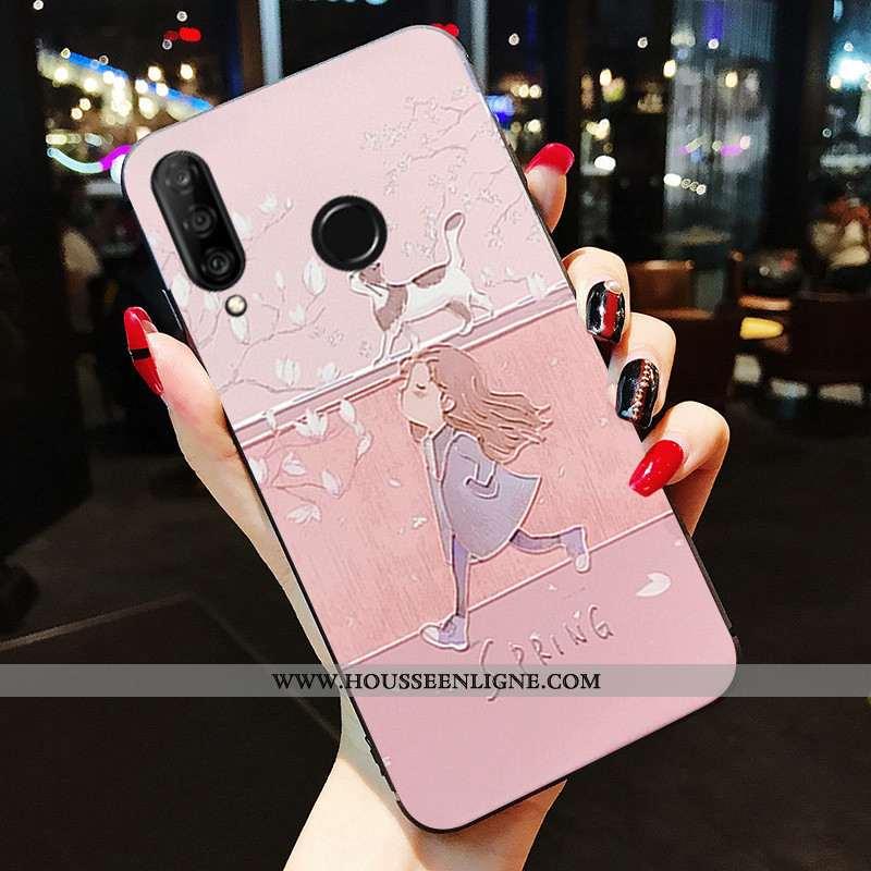Housse Huawei P30 Lite Silicone Protection Tout Compris Fluide Doux Rose Incassable Coque