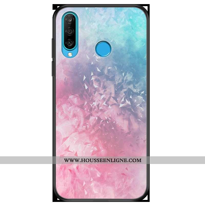 Housse Huawei P30 Lite Tendance Fluide Doux Charmant Coque Téléphone Portable Incassable Mode Rose