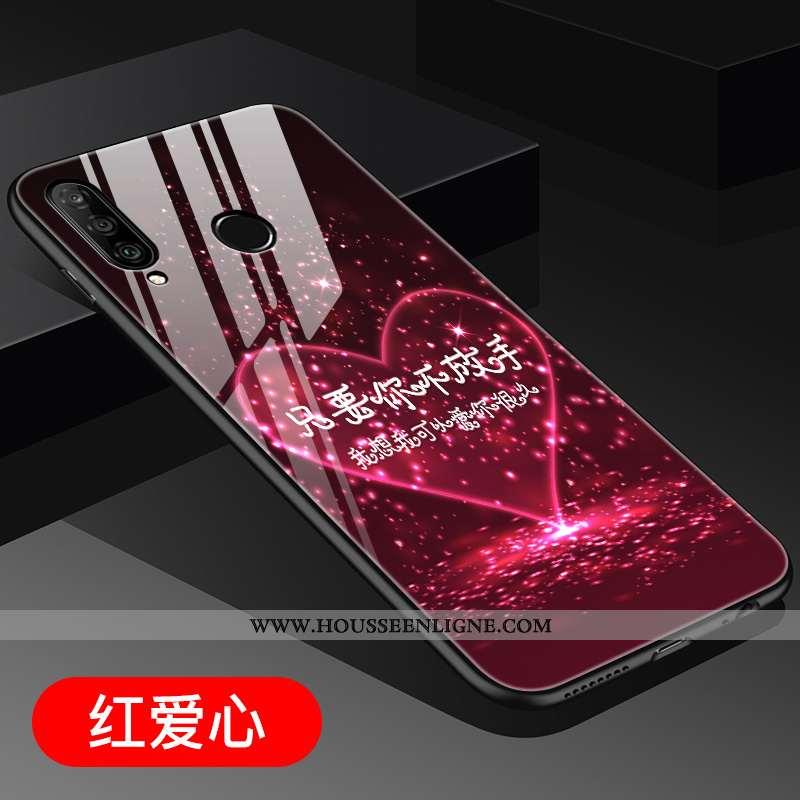 Housse Huawei P30 Lite Tendance Verre Personnalité Rouge Charmant Clair Dimensionnel