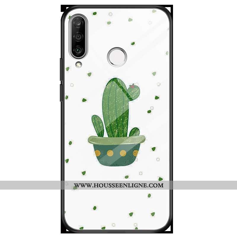 Housse Huawei P30 Lite Verre Blanc Brillant Couleur Téléphone Portable Étui Coque Blanche