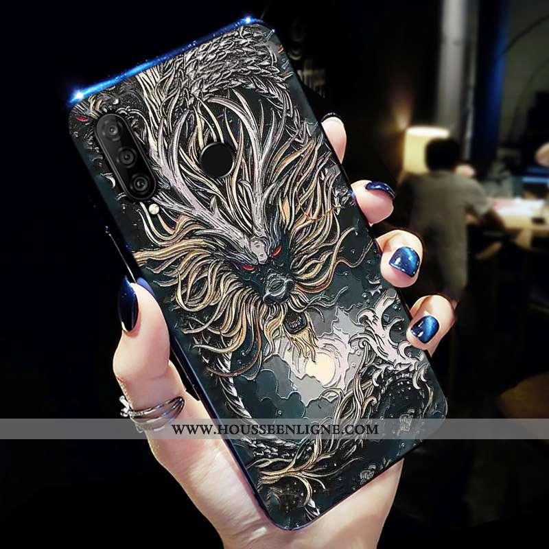 Housse Huawei P30 Lite Xl Créatif Protection Noir Jeunesse Personnalité Téléphone Portable Petit