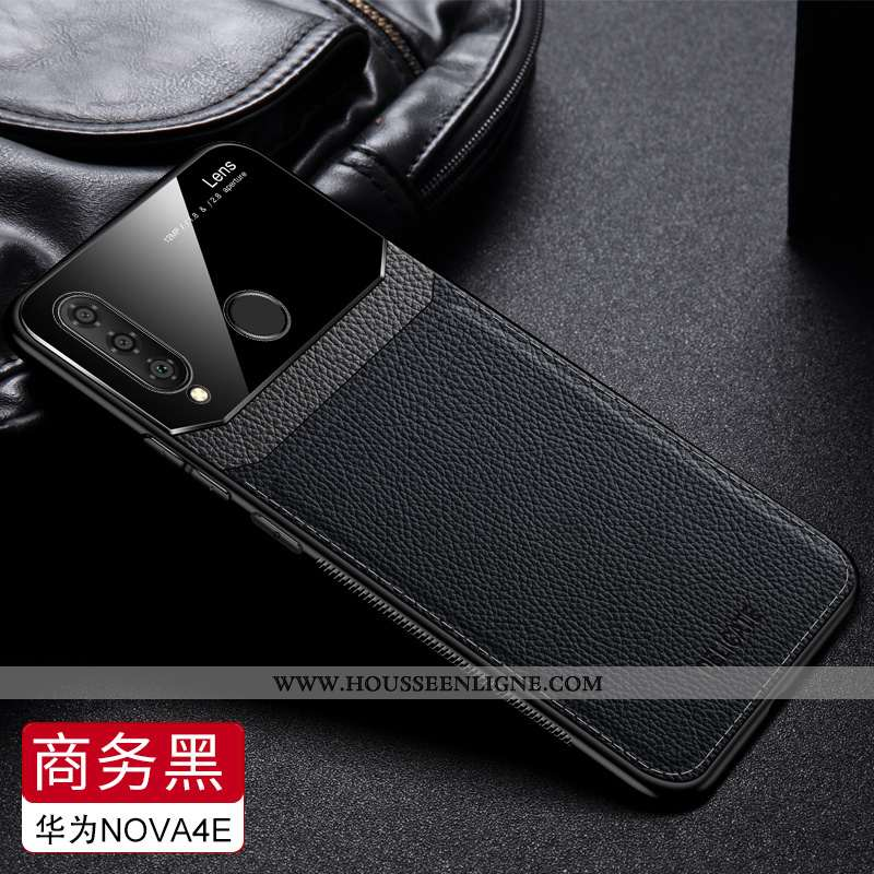 Housse Huawei P30 Lite Xl Fluide Doux Protection Incassable Modèle Fleurie Personnalité Noir Cuir