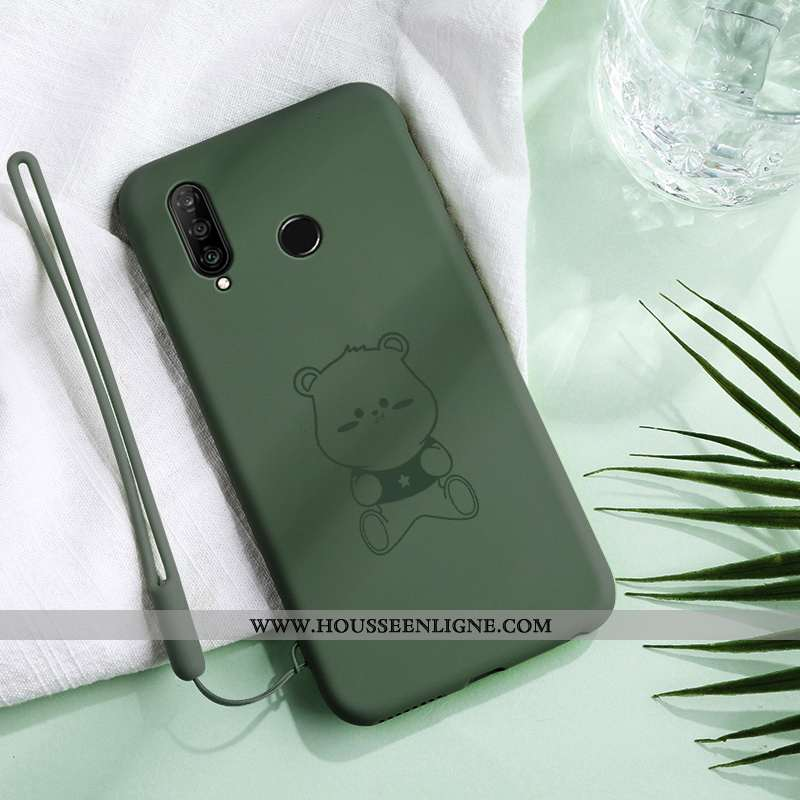 Housse Huawei P30 Lite Xl Protection Créatif Coque Vert Silicone Vent Simple Verte