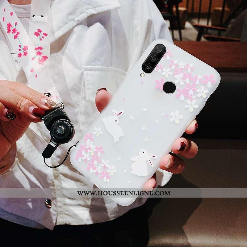 Housse Huawei P30 Lite Xl Tendance Fluide Doux Sakura Étui Incassable Coque Ornements Suspendus Blan