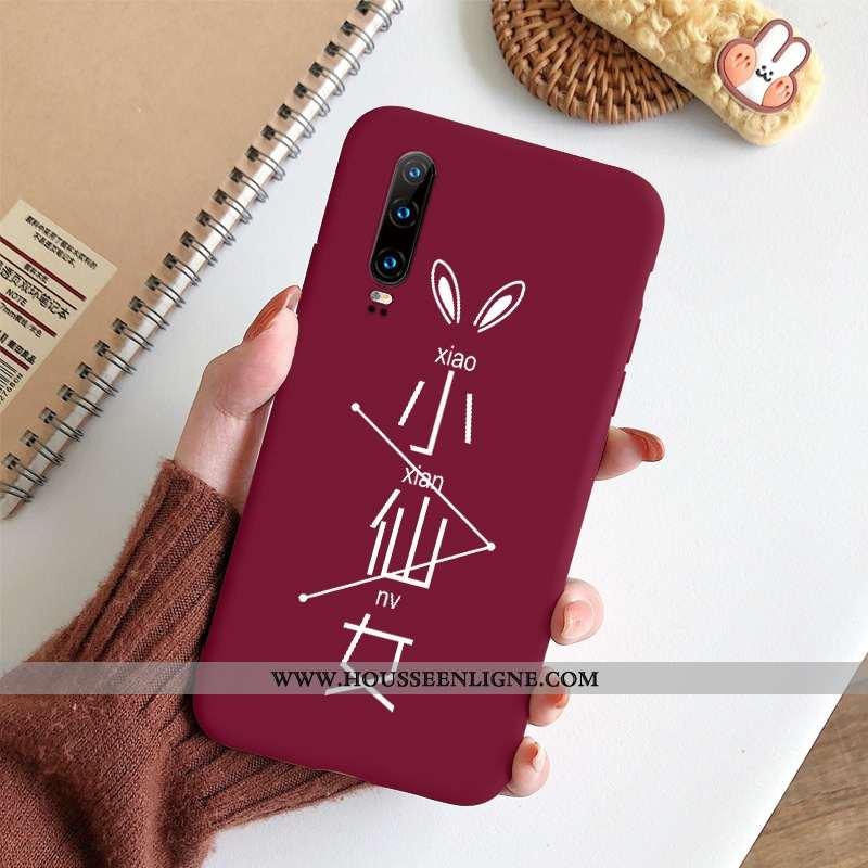 Housse Huawei P30 Mode Protection Amoureux Délavé En Daim Vent Clair Ultra Rouge