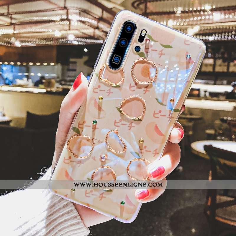 Housse Huawei P30 Pro Charmant Fluide Doux Étui Strass Nouveau Téléphone Portable Coque Beige