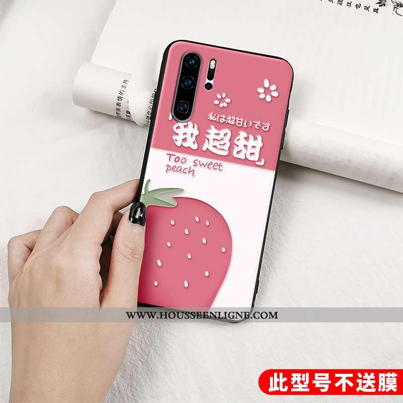 Housse Huawei P30 Pro Fluide Doux Silicone Fruit Net Rouge Charmant Étui Protection