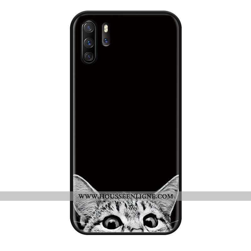 Housse Huawei P30 Pro Gaufrage Charmant Courte Simple Étui Amoureux Protection Noir