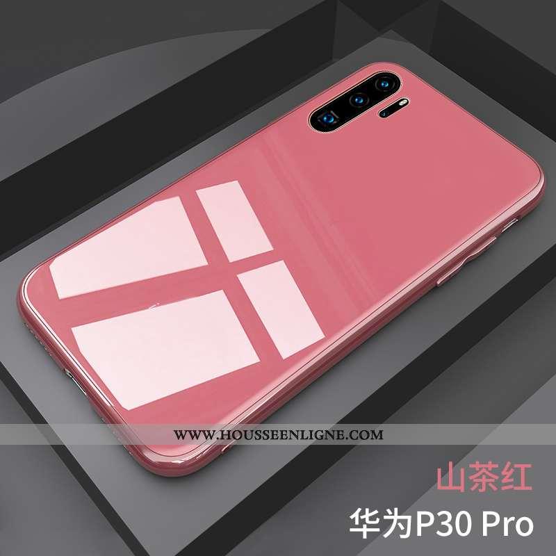 Housse Huawei P30 Pro Légère Verre Miroir Vent Coque Net Rouge Rose