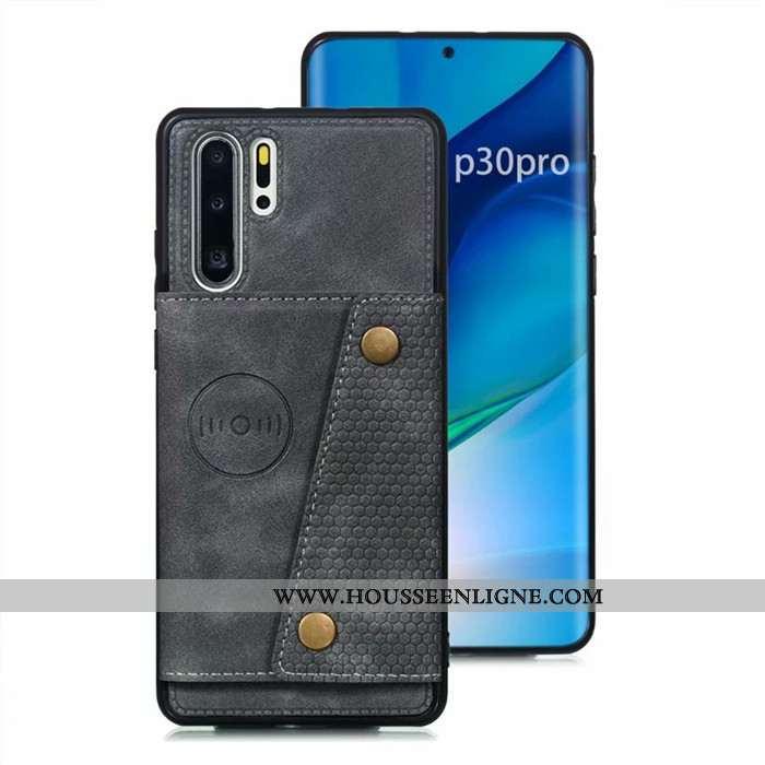Housse Huawei P30 Pro Protection Cuir Incassable Téléphone Portable Coque Sac Carte Étui Gris