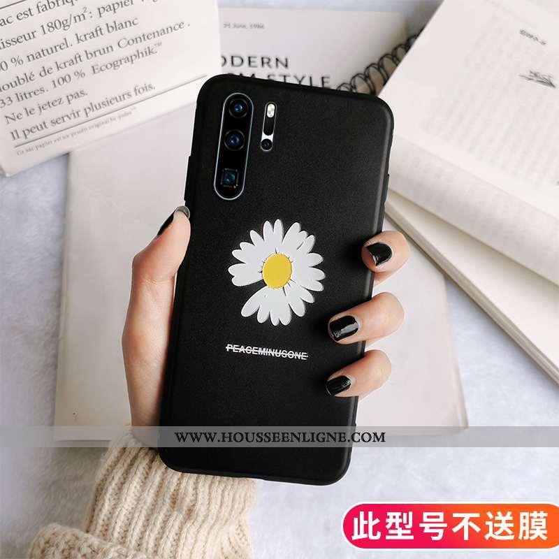 Housse Huawei P30 Pro Silicone Protection Téléphone Portable Gaufrage Vent Étui Fluide Doux Noir