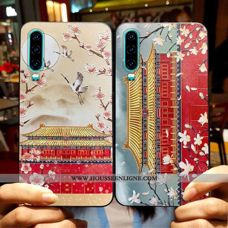 Housse Huawei P30 Tendance Fluide Doux Créatif Vent Téléphone Portable Silicone Vintage Rouge