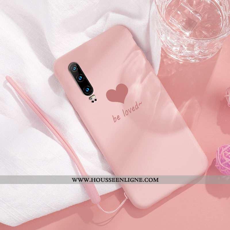 Housse Huawei P30 Tendance Silicone Clair Tout Compris Téléphone Portable Simple Vent Rose