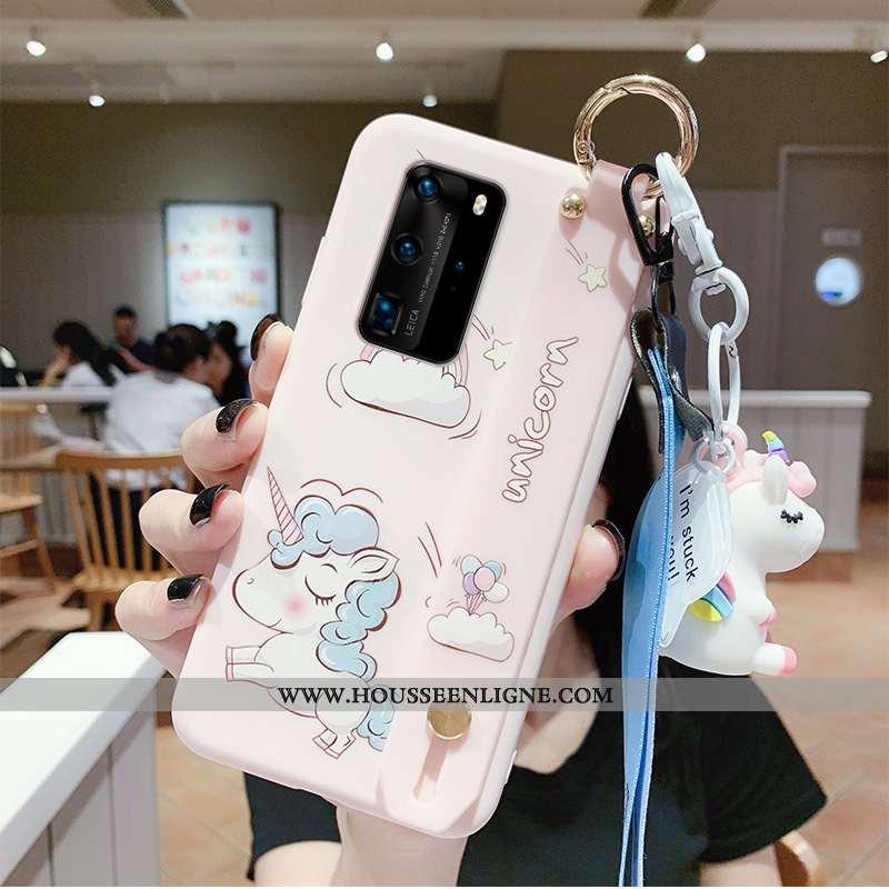 Housse Huawei P40 Créatif Protection Cœur Incassable Rose Étui Net Rouge