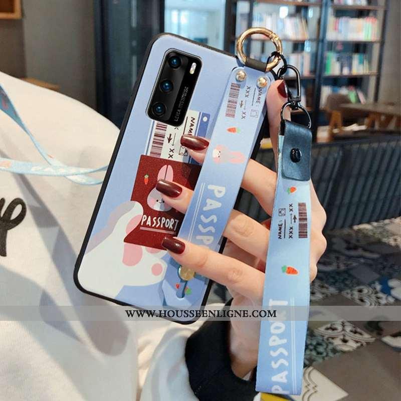 Housse Huawei P40 Fluide Doux Mode Téléphone Portable Bleu Incassable Étui Personnalité