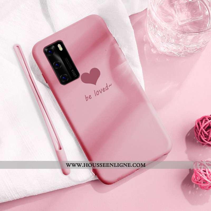 Housse Huawei P40 Fluide Doux Silicone Rose Protection Légère Net Rouge Créatif