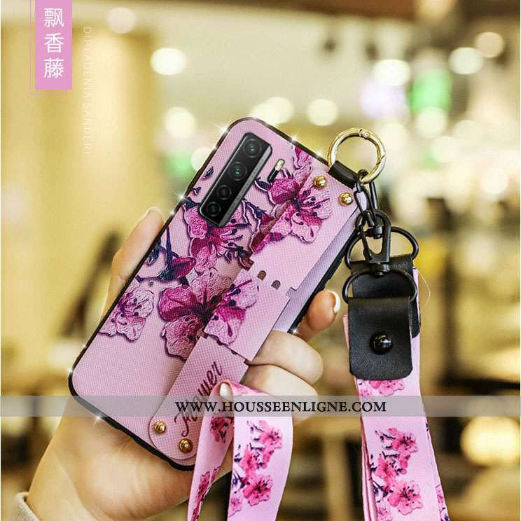 Housse Huawei P40 Lite 5g Protection Incruster Strass Cou Suspendu Téléphone Portable Cuir Rouge Étu