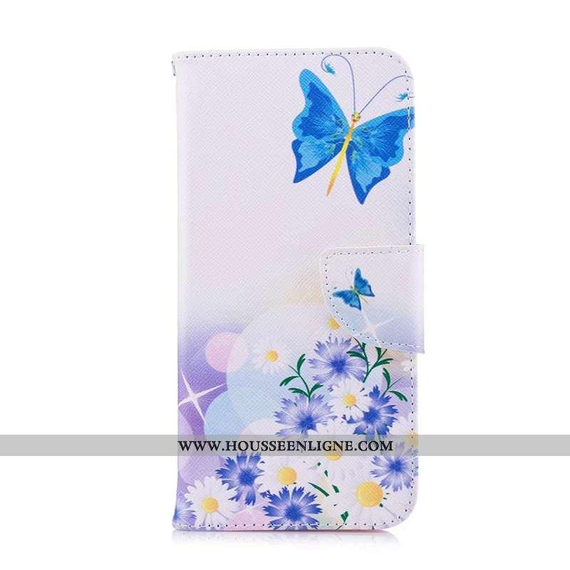Housse Huawei P40 Lite E Cuir Protection Coque Bleu Étui Peinture