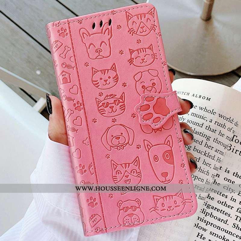 Housse Huawei P40 Lite E Cuir Protection En Relief Gaufrage Chat Couleur Unie Rose