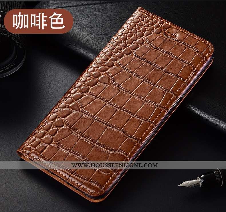 Housse Huawei P40 Lite E Protection Cuir Véritable Téléphone Portable Marron Modèle Fleurie Coque