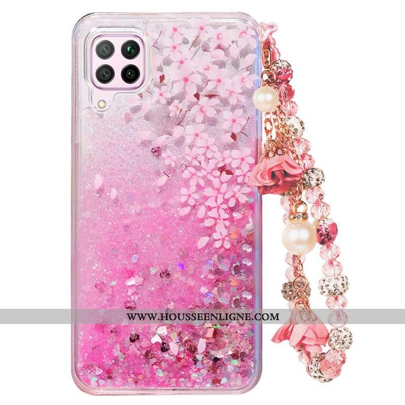 Housse Huawei P40 Lite Fluide Doux Incassable Quicksand Téléphone Portable Coque Rose Tout Compris