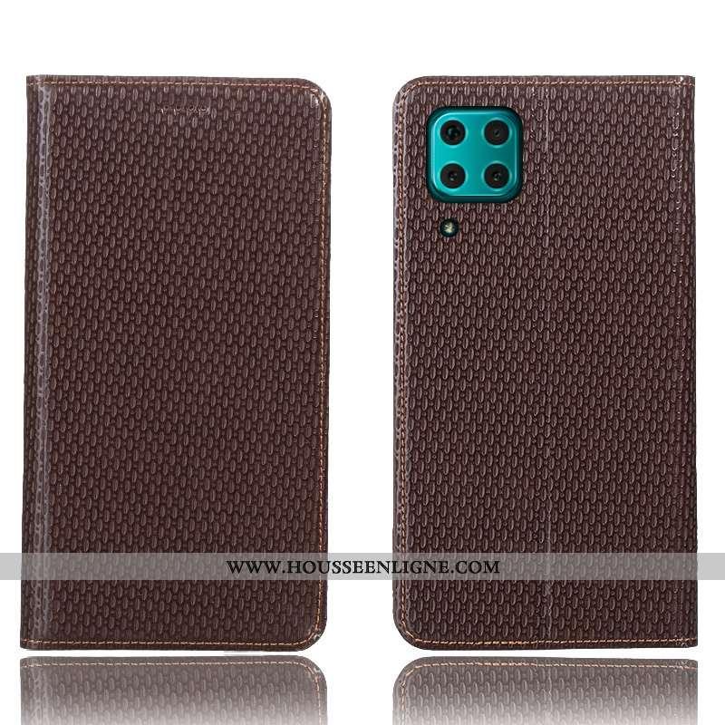 Housse Huawei P40 Lite Modèle Fleurie Protection Coque Cuir Véritable Téléphone Portable Étui Marron