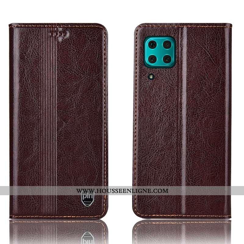 Housse Huawei P40 Lite Protection Cuir Véritable Téléphone Portable Coque Étui Marron