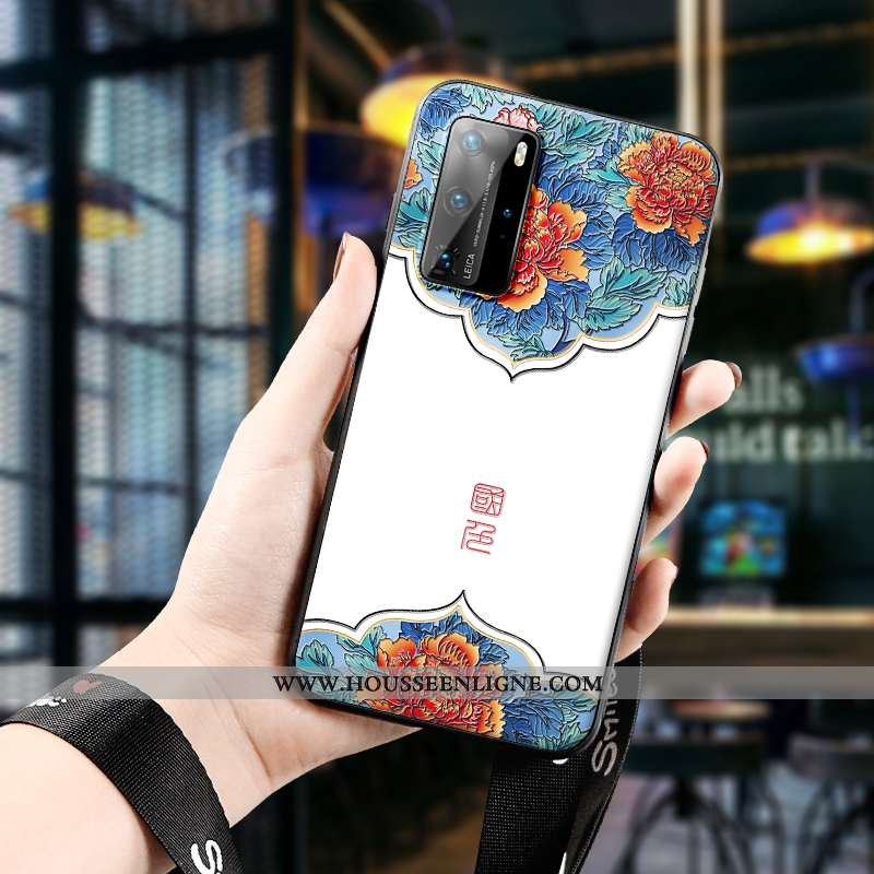 Housse Huawei P40 Pro Charmant Vintage Gaufrage Coque Étui Incassable Protection Blanche