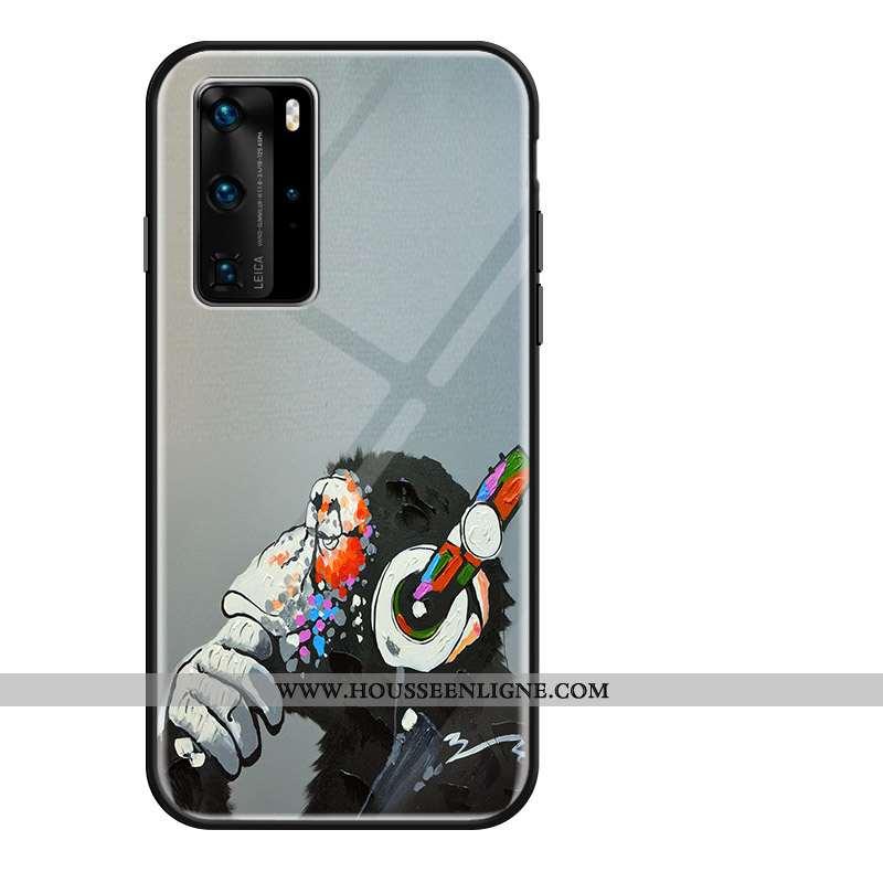 Housse Huawei P40 Pro Dessin Animé Fluide Doux Incassable Gris Téléphone Portable Verre Créatif